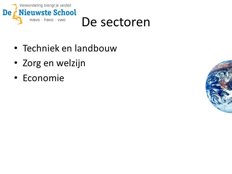 De sectoren • Techniek en landbouw • Zorg en welzijn • Economie