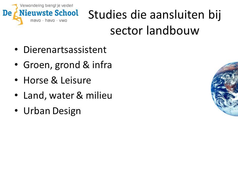 Studies die aansluiten bij sector landbouw • Dierenartsassistent • Groen, grond & infra • Horse & Leisure • Land, water & milieu • Urban Design