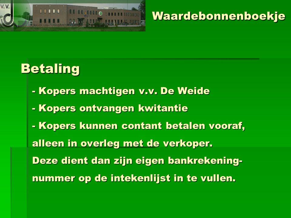 Betaling - Kopers machtigen v.v.
