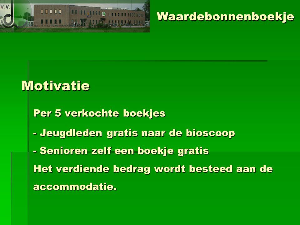 Motivatie Per 5 verkochte boekjes - Jeugdleden gratis naar de bioscoop - Senioren zelf een boekje gratis Het verdiende bedrag wordt besteed aan de accommodatie.