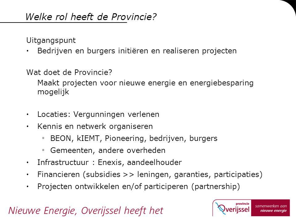 Welke rol heeft de Provincie? Uitgangspunt  Bedrijven en burgers initiëren en realiseren projecten Wat doet de Provincie? Maakt projecten voor nieuwe