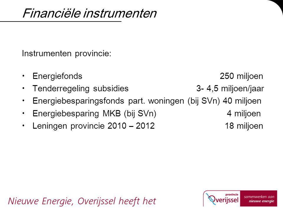 Financiële instrumenten Instrumenten provincie:  Energiefonds 250 miljoen  Tenderregeling subsidies 3- 4,5 miljoen/jaar  Energiebesparingsfonds par