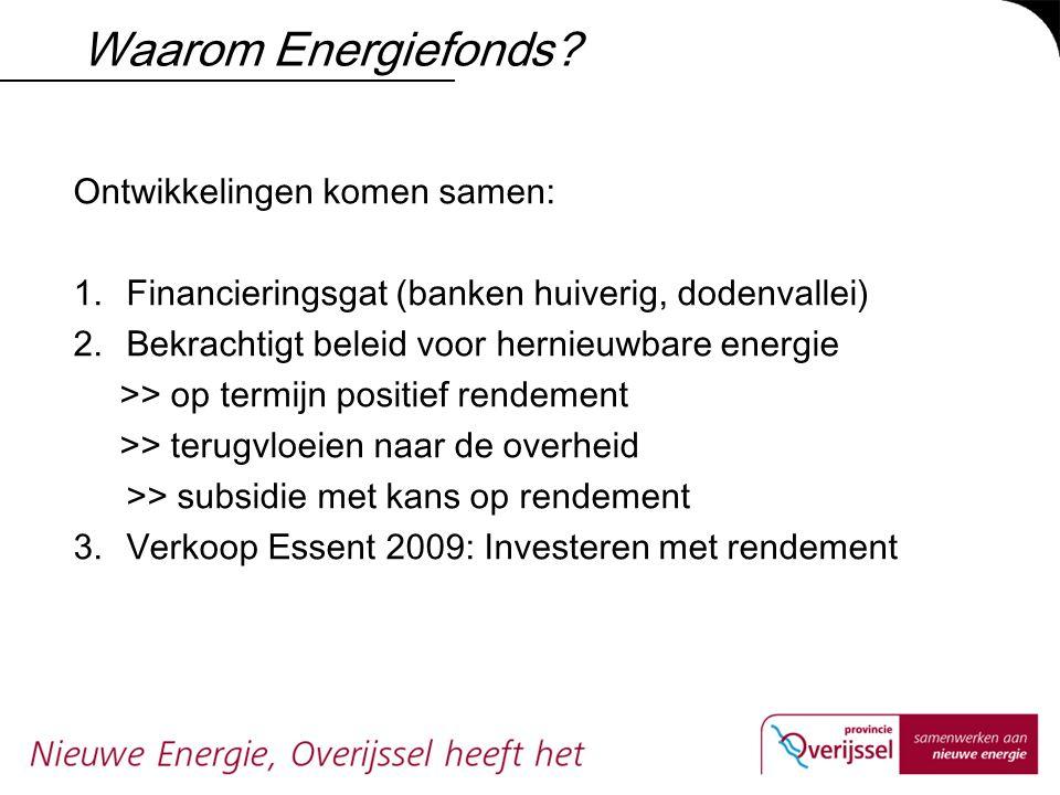 Waarom Energiefonds? Ontwikkelingen komen samen: 1.Financieringsgat (banken huiverig, dodenvallei) 2.Bekrachtigt beleid voor hernieuwbare energie >> o