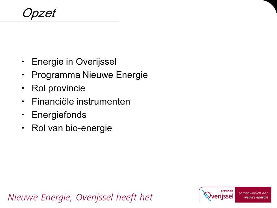 Opzet  Energie in Overijssel  Programma Nieuwe Energie  Rol provincie  Financiële instrumenten  Energiefonds  Rol van bio-energie