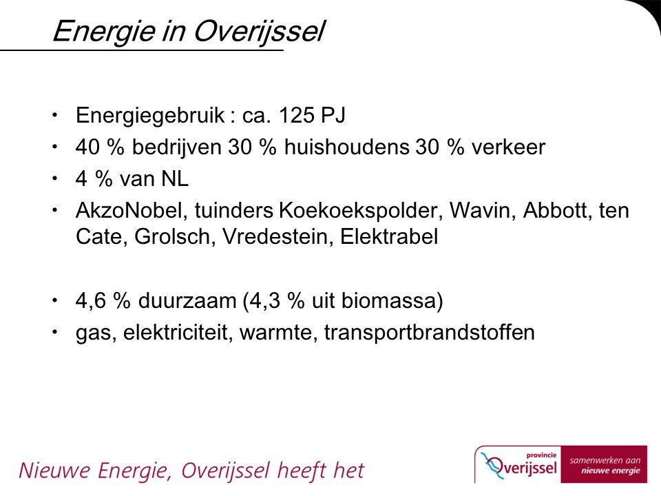 Energie in Overijssel  Energiegebruik : ca. 125 PJ  40 % bedrijven 30 % huishoudens 30 % verkeer  4 % van NL  AkzoNobel, tuinders Koekoekspolder,
