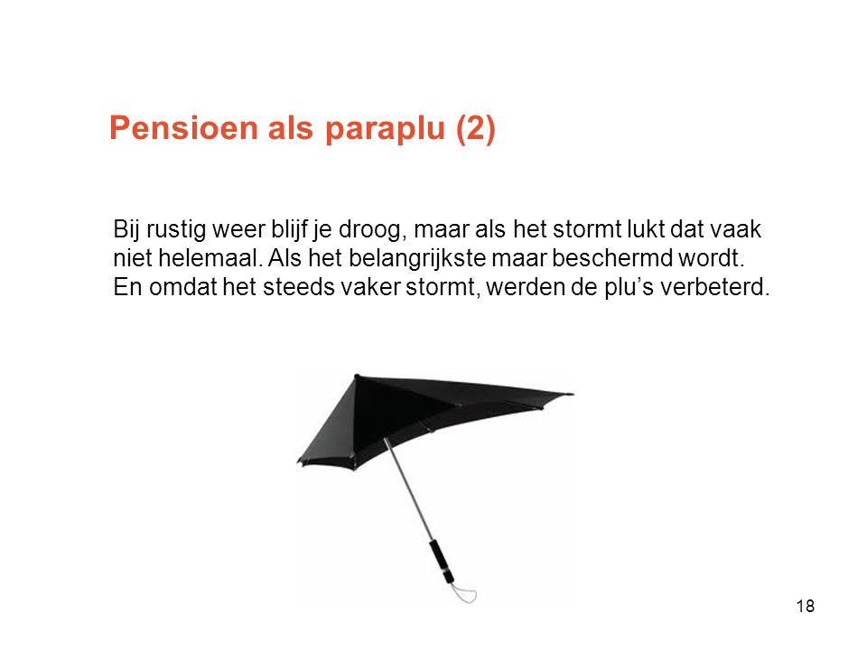 Pensioen als paraplu (2) Bij rustig weer blijf je droog, maar als het stormt lukt dat vaak niet helemaal.