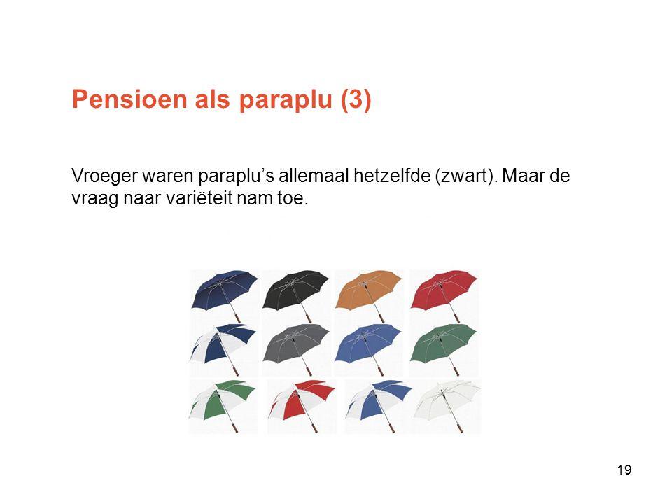 Pensioen als paraplu (3) Vroeger waren paraplu's allemaal hetzelfde (zwart).