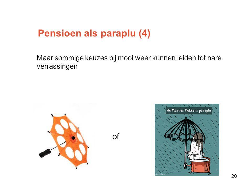 Pensioen als paraplu (4) Maar sommige keuzes bij mooi weer kunnen leiden tot nare verrassingen Ofof 20