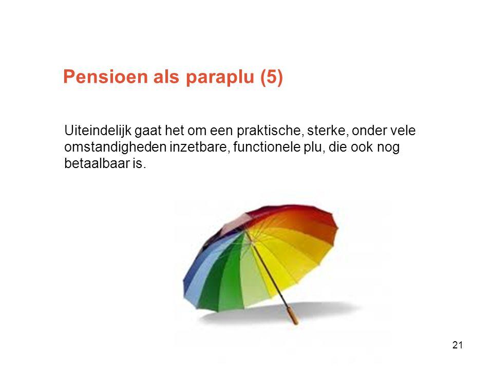 Pensioen als paraplu (5) Uiteindelijk gaat het om een praktische, sterke, onder vele omstandigheden inzetbare, functionele plu, die ook nog betaalbaar is.