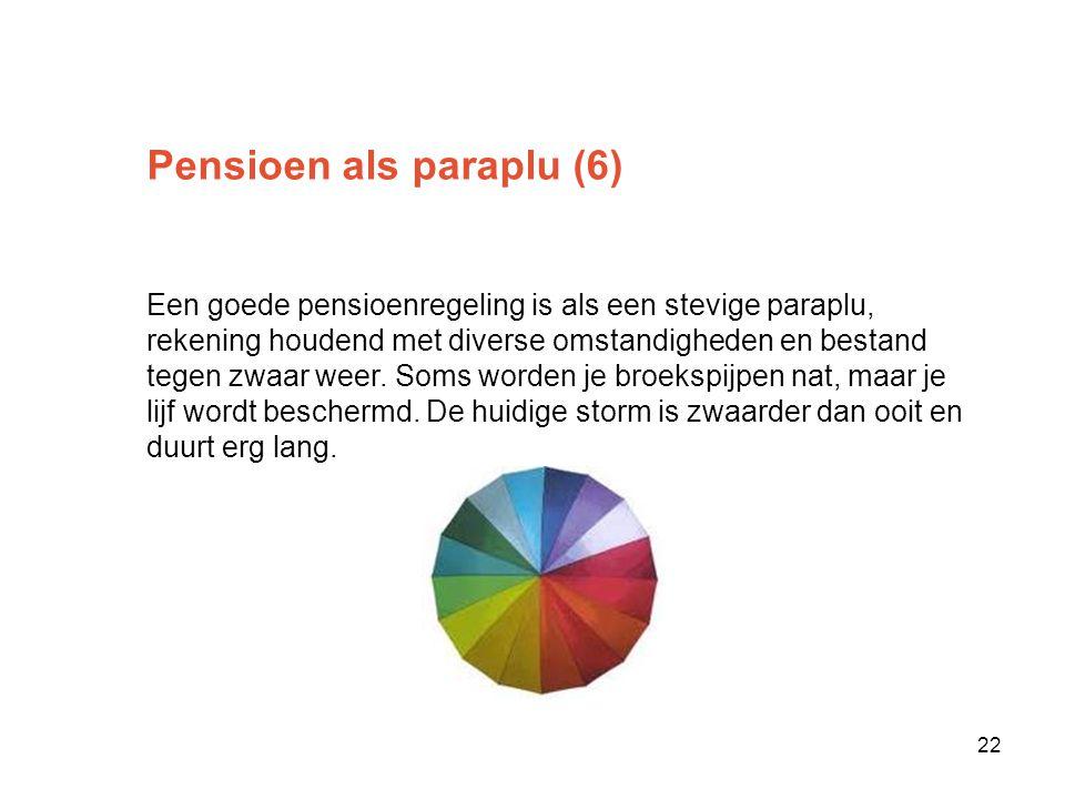 Pensioen als paraplu (6) Een goede pensioenregeling is als een stevige paraplu, rekening houdend met diverse omstandigheden en bestand tegen zwaar weer.