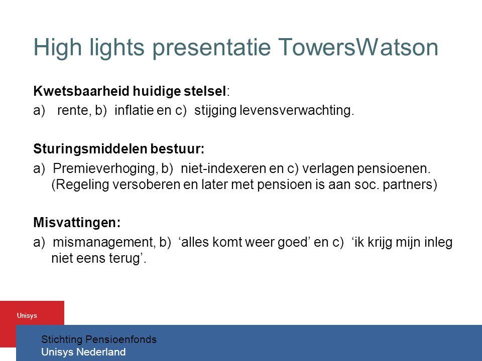 Stichting Pensioenfonds Unisys Nederland Unisys High lights presentatie TowersWatson Kwetsbaarheid huidige stelsel: a)rente, b) inflatie en c) stijging levensverwachting.