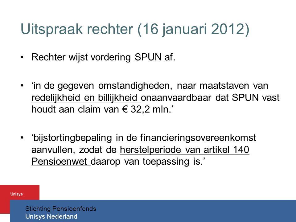 Stichting Pensioenfonds Unisys Nederland Unisys Uitspraak rechter (16 januari 2012) •Rechter wijst vordering SPUN af.
