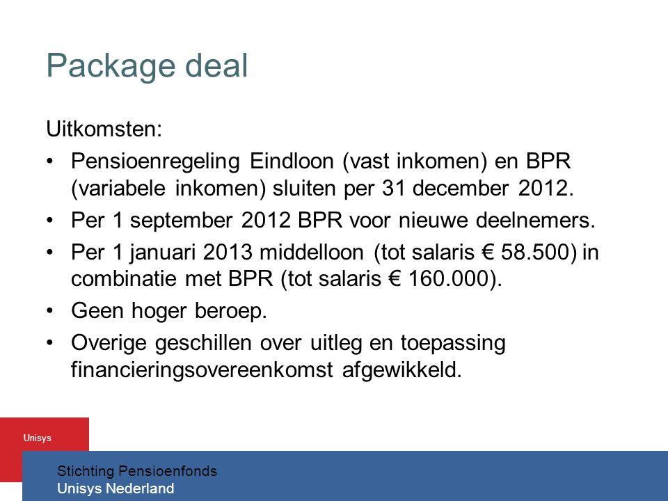 Stichting Pensioenfonds Unisys Nederland Unisys Package deal Uitkomsten: •Pensioenregeling Eindloon (vast inkomen) en BPR (variabele inkomen) sluiten per 31 december 2012.