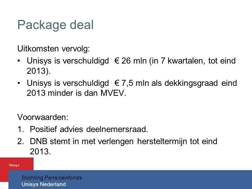 Stichting Pensioenfonds Unisys Nederland Unisys Package deal Uitkomsten vervolg: •Unisys is verschuldigd € 26 mln (in 7 kwartalen, tot eind 2013).