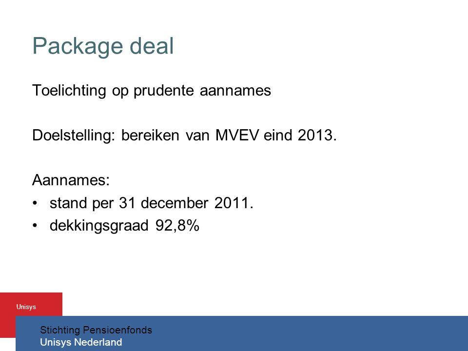 Stichting Pensioenfonds Unisys Nederland Unisys Package deal Toelichting op prudente aannames Doelstelling: bereiken van MVEV eind 2013.