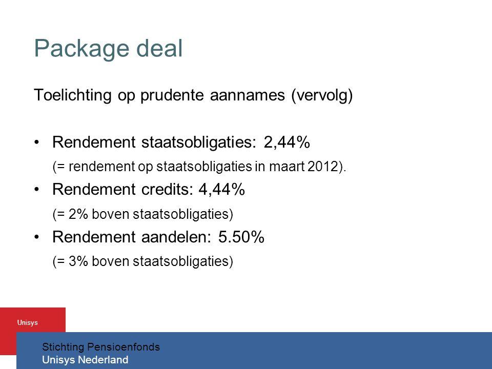 Stichting Pensioenfonds Unisys Nederland Unisys Package deal Toelichting op prudente aannames (vervolg) •Rendement staatsobligaties: 2,44% (= rendement op staatsobligaties in maart 2012).