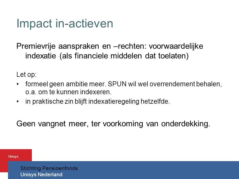 Stichting Pensioenfonds Unisys Nederland Unisys Impact in-actieven Premievrije aanspraken en –rechten: voorwaardelijke indexatie (als financiele middelen dat toelaten) Let op: •formeel geen ambitie meer.