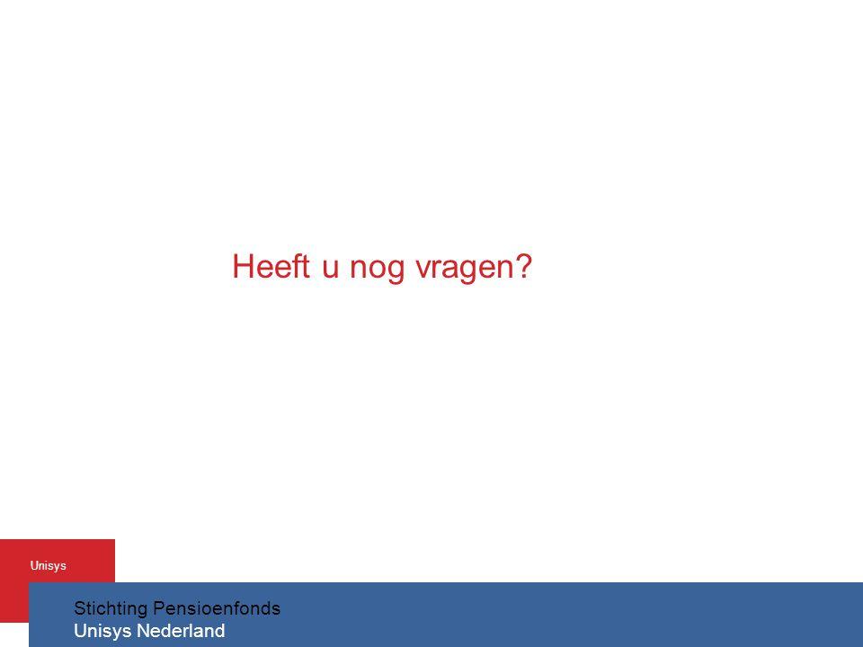 Stichting Pensioenfonds Unisys Nederland Unisys Heeft u nog vragen?