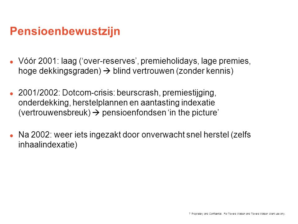 Proprietary and Confidential. For Towers Watson and Towers Watson client use only. Pensioenbewustzijn  Vóór 2001: laag ('over-reserves', premieholida