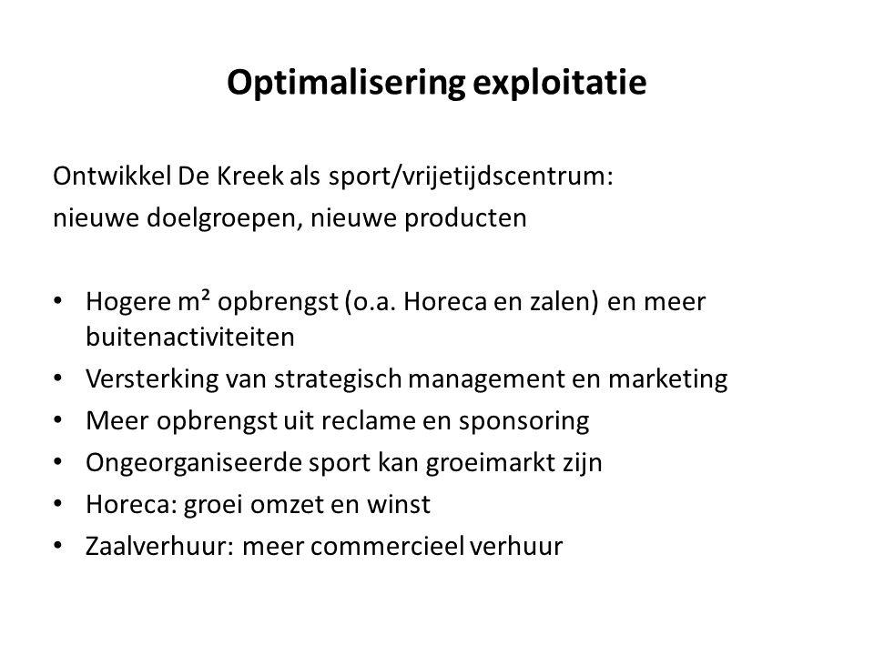 Optimalisering exploitatie Ontwikkel De Kreek als sport/vrijetijdscentrum: nieuwe doelgroepen, nieuwe producten • Hogere m² opbrengst (o.a. Horeca en