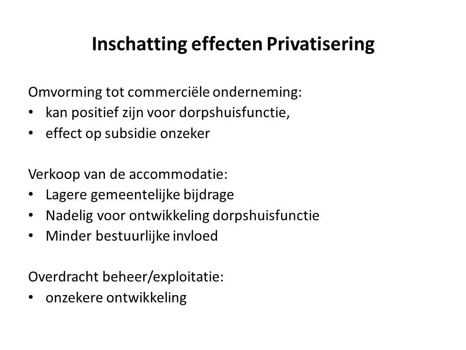 Inschatting effecten Privatisering Omvorming tot commerciële onderneming: • kan positief zijn voor dorpshuisfunctie, • effect op subsidie onzeker Verk