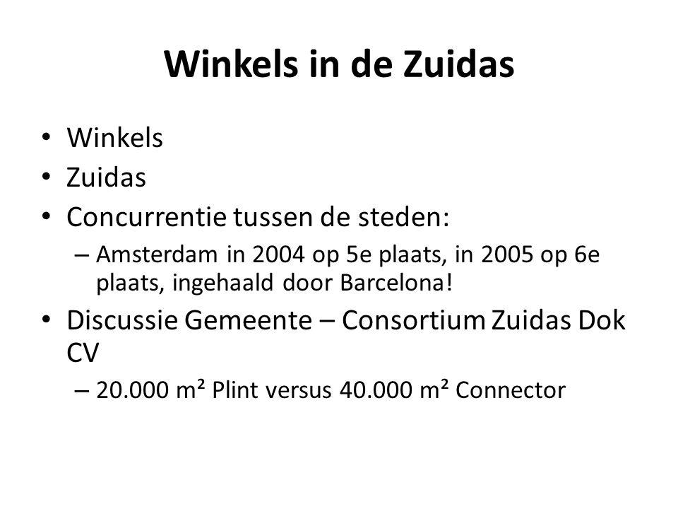 Winkels in de Zuidas • Winkels • Zuidas • Concurrentie tussen de steden: – Amsterdam in 2004 op 5e plaats, in 2005 op 6e plaats, ingehaald door Barcel