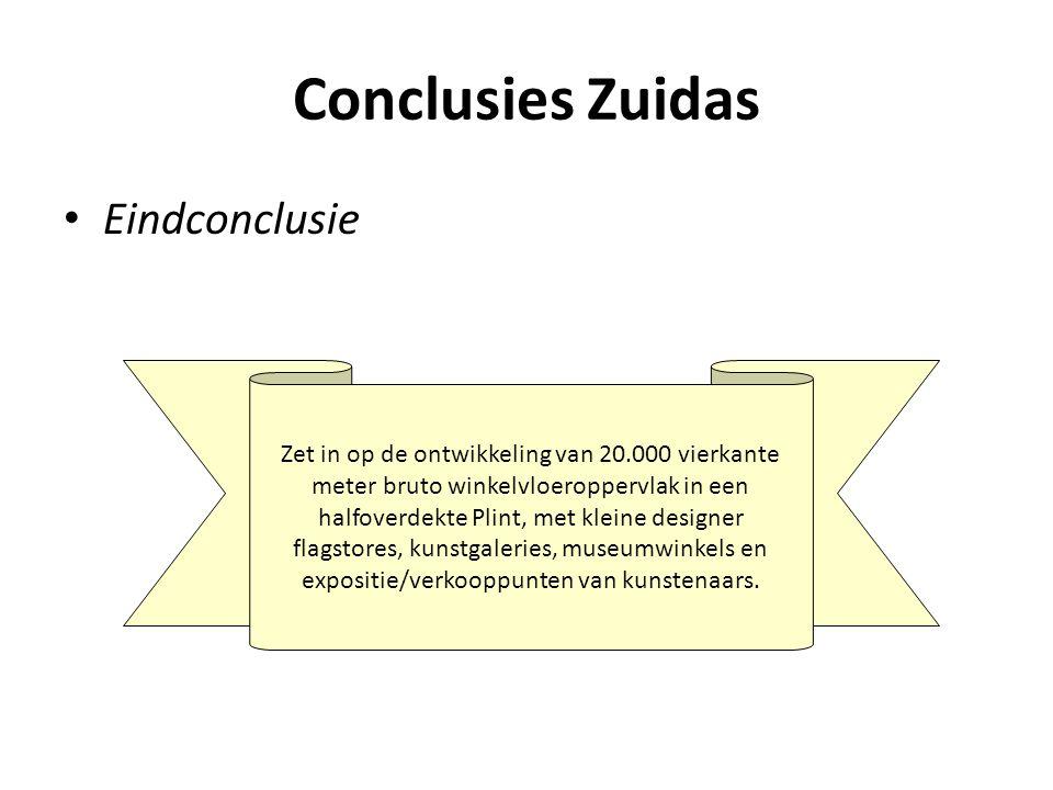 Conclusies Zuidas • Eindconclusie Zet in op de ontwikkeling van 20.000 vierkante meter bruto winkelvloeroppervlak in een halfoverdekte Plint, met klei