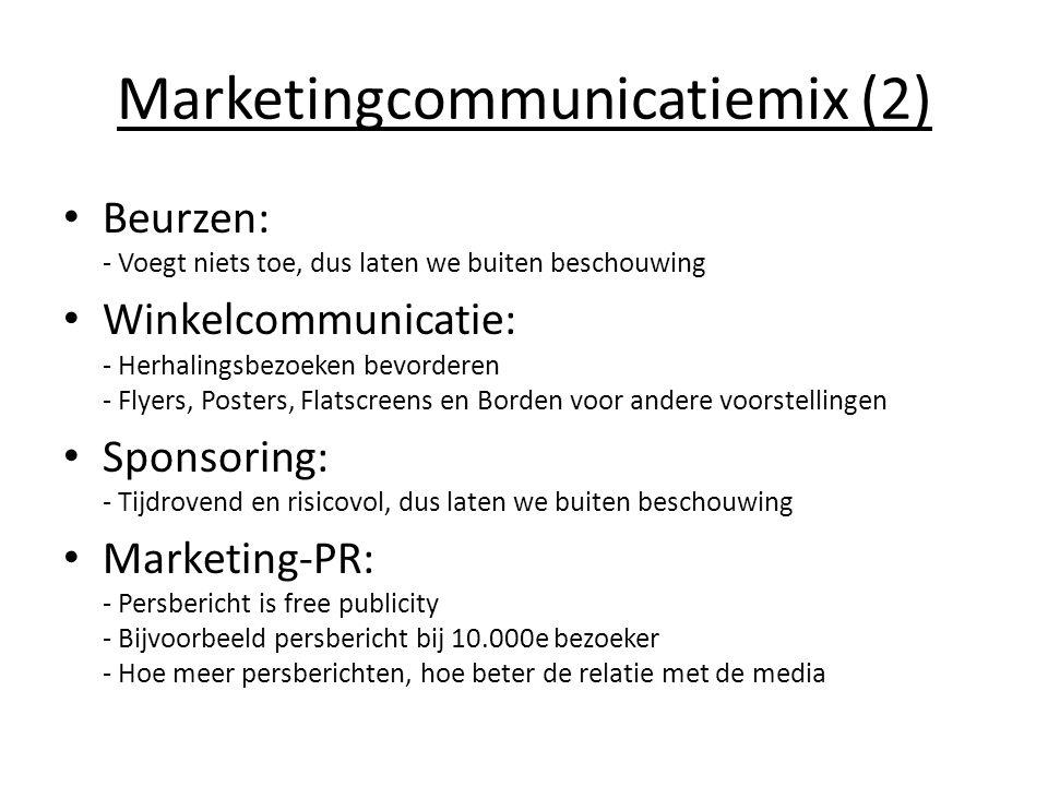 Marketingcommunicatiemix (2) • Beurzen: - Voegt niets toe, dus laten we buiten beschouwing • Winkelcommunicatie: - Herhalingsbezoeken bevorderen - Flyers, Posters, Flatscreens en Borden voor andere voorstellingen • Sponsoring: - Tijdrovend en risicovol, dus laten we buiten beschouwing • Marketing-PR: - Persbericht is free publicity - Bijvoorbeeld persbericht bij 10.000e bezoeker - Hoe meer persberichten, hoe beter de relatie met de media