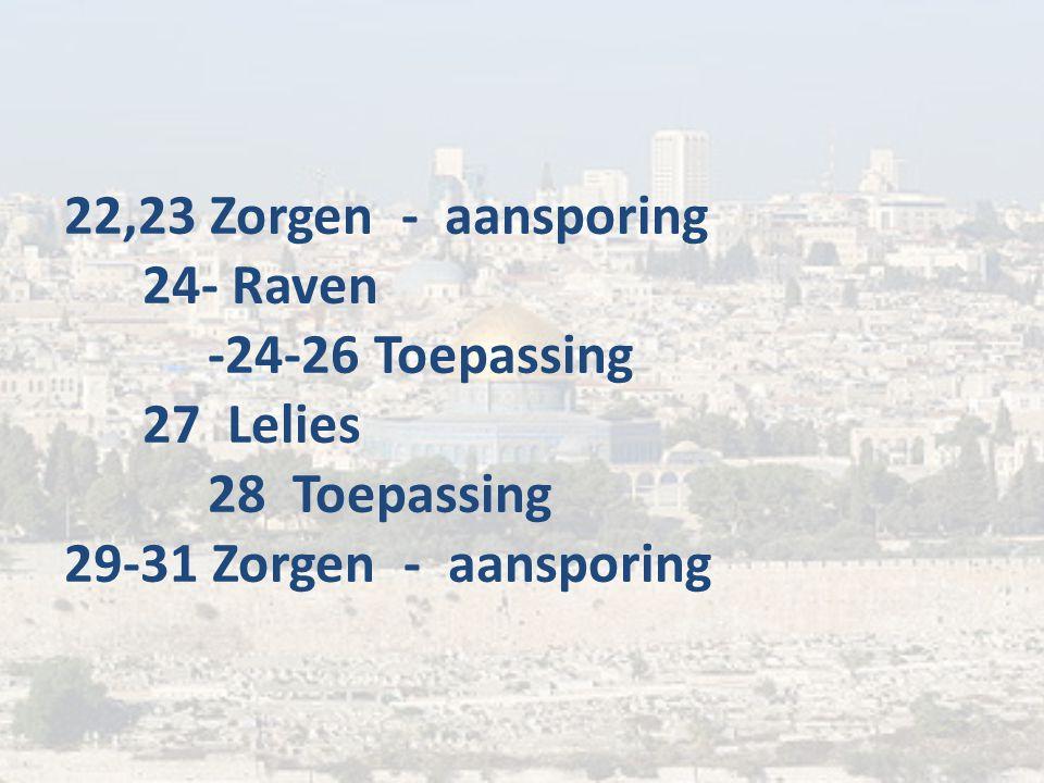 22,23 Zorgen - aansporing 24- Raven -24-26 Toepassing 27 Lelies 28 Toepassing 29-31 Zorgen - aansporing