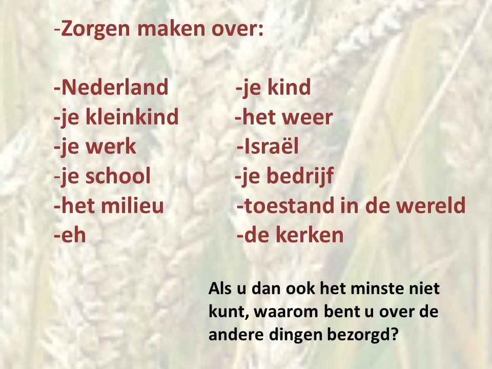 -Zorgen maken over: -Nederland -je kind -je kleinkind -het weer -je werk -Israël -je school -je bedrijf -het milieu -toestand in de wereld -eh -de ker