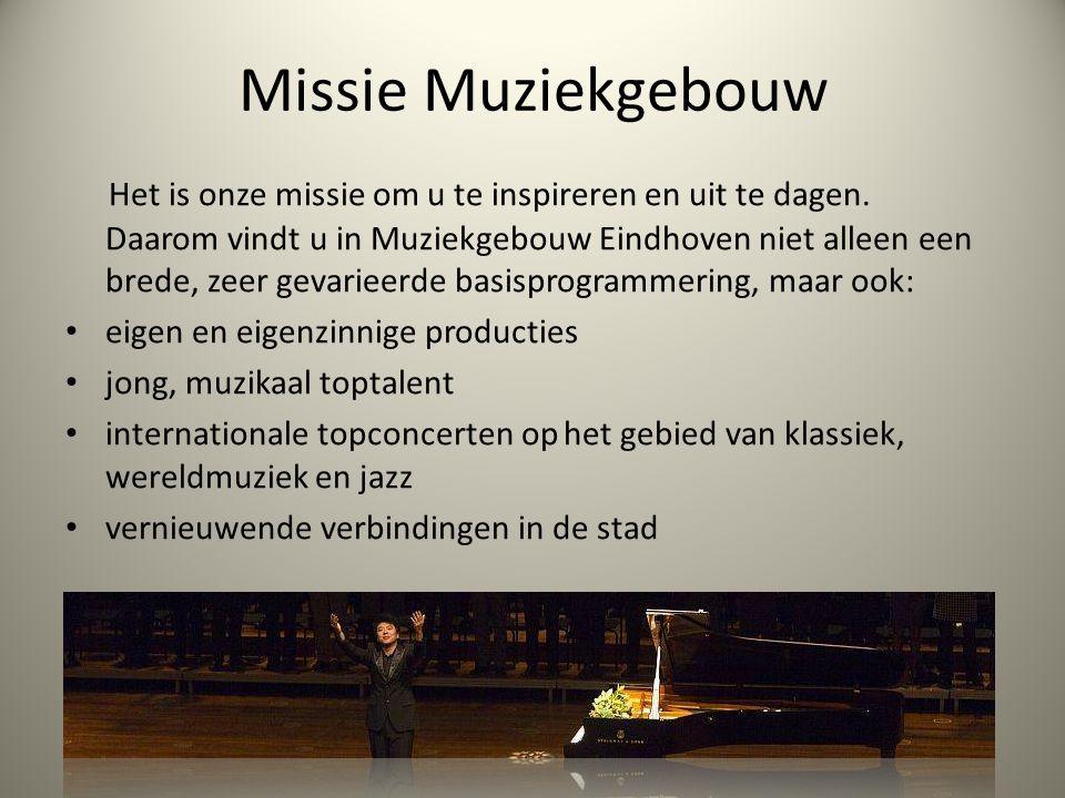 Missie Muziekgebouw Het is onze missie om u te inspireren en uit te dagen.