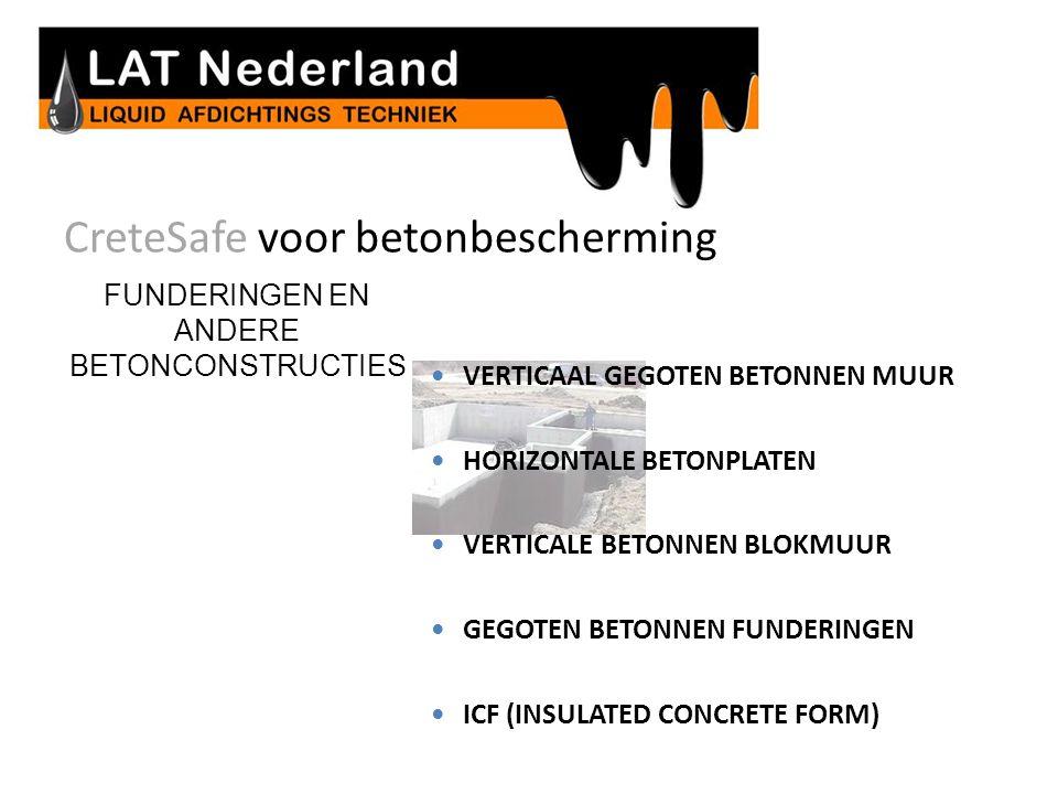 CreteSafe voor betonbescherming FUNDERINGEN EN ANDERE BETONCONSTRUCTIES  VERTICAAL GEGOTEN BETONNEN MUUR  HORIZONTALE BETONPLATEN  VERTICALE BETONNEN BLOKMUUR  GEGOTEN BETONNEN FUNDERINGEN  ICF (INSULATED CONCRETE FORM) Beton