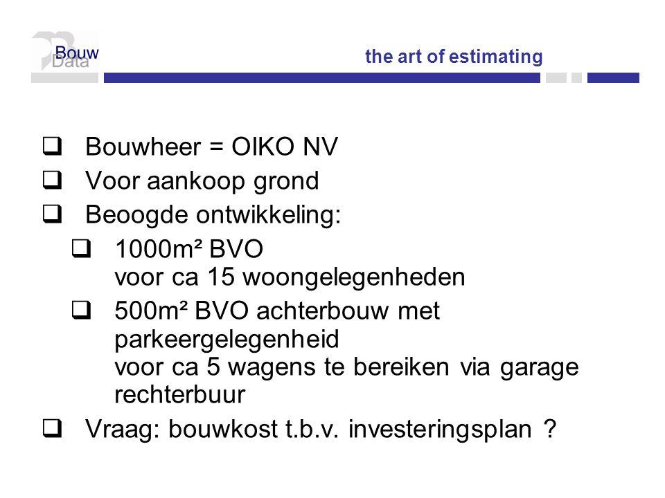  Bouwheer = OIKO NV  Voor aankoop grond  Beoogde ontwikkeling:  1000m² BVO voor ca 15 woongelegenheden  500m² BVO achterbouw met parkeergelegenheid voor ca 5 wagens te bereiken via garage rechterbuur  Vraag: bouwkost t.b.v.
