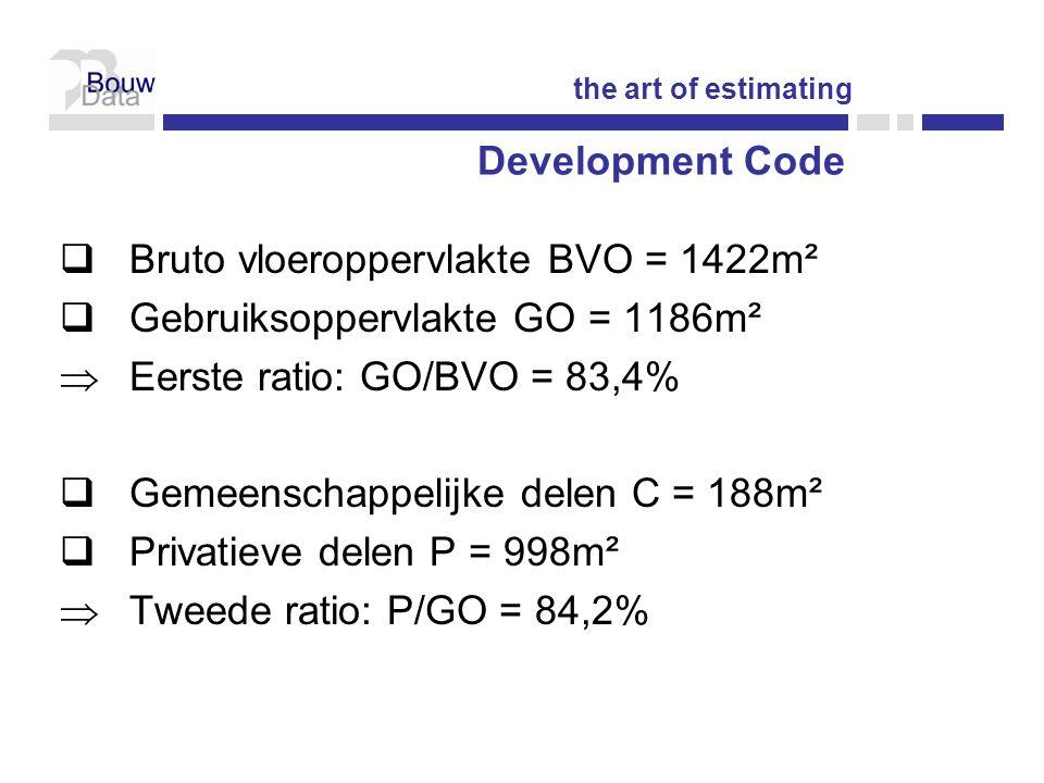  Bruto vloeroppervlakte BVO = 1422m²  Gebruiksoppervlakte GO = 1186m²  Eerste ratio: GO/BVO = 83,4%  Gemeenschappelijke delen C = 188m²  Privatieve delen P = 998m²  Tweede ratio: P/GO = 84,2% the art of estimating Development Code