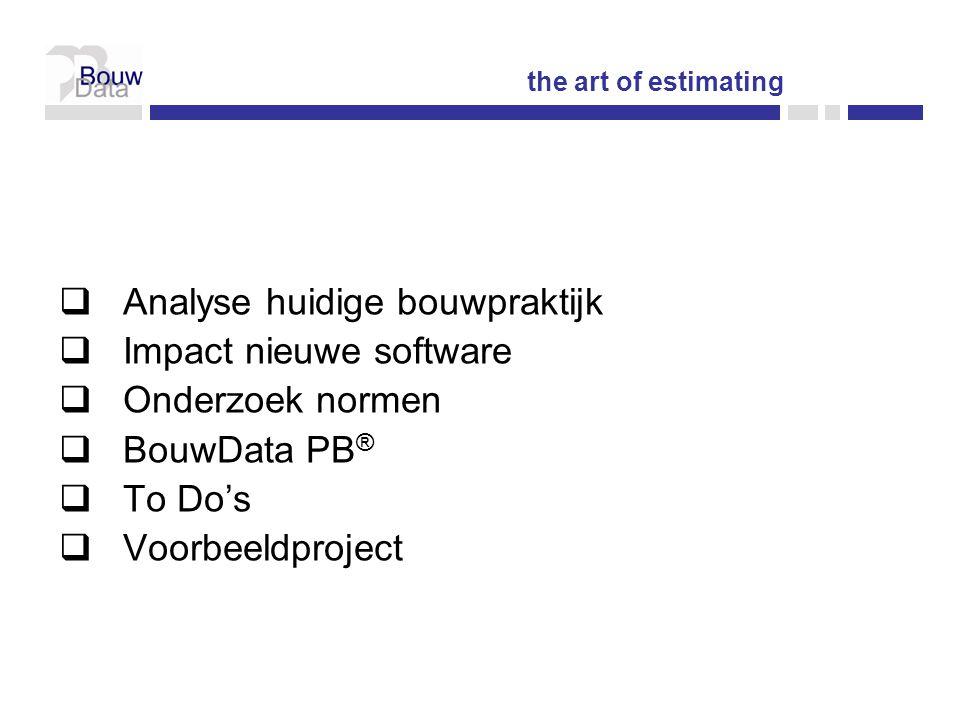 BOUWPROCESBOUWPROCES Fasering klassiek bouwproces  Programma van Eisen  Voorontwerp  Ontwerp  Aanbesteding  Werkvoorbereiding  Uitvoering DESIGN BID BUILD the art of estimating
