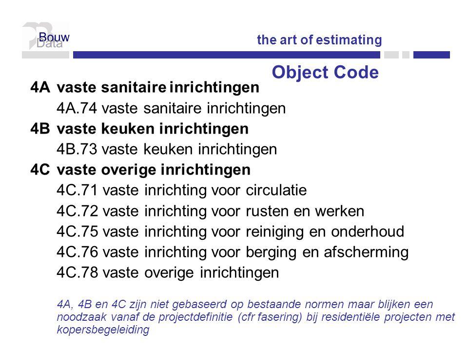 4Avaste sanitaire inrichtingen 4A.74 vaste sanitaire inrichtingen 4Bvaste keuken inrichtingen 4B.73 vaste keuken inrichtingen 4Cvaste overige inrichtingen 4C.71 vaste inrichting voor circulatie 4C.72 vaste inrichting voor rusten en werken 4C.75 vaste inrichting voor reiniging en onderhoud 4C.76 vaste inrichting voor berging en afscherming 4C.78 vaste overige inrichtingen 4A, 4B en 4C zijn niet gebaseerd op bestaande normen maar blijken een noodzaak vanaf de projectdefinitie (cfr fasering) bij residentiële projecten met kopersbegeleiding the art of estimating Object Code