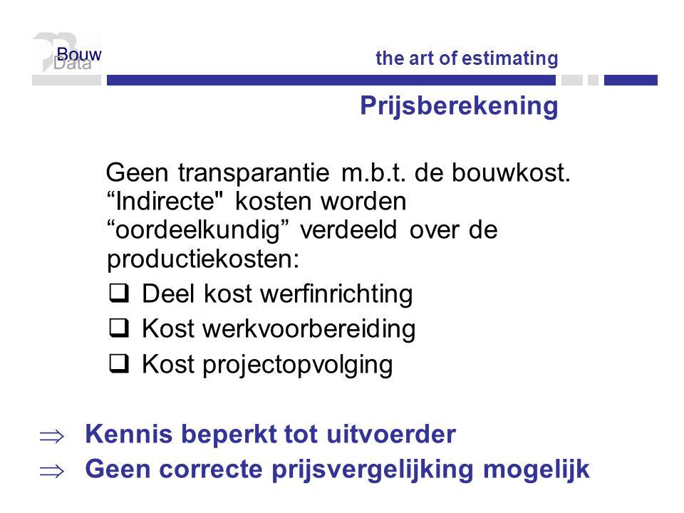 Indeling  A4 kostenbeheersing  A4j kostenplanning  A4s meetstaten  A4t prijsvorming  A4u contracten  A4v kostenanalyses the art of estimating