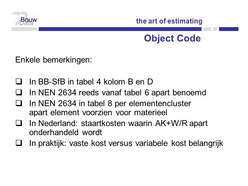 Enkele bemerkingen:  In BB-SfB in tabel 4 kolom B en D  In NEN 2634 reeds vanaf tabel 6 apart benoemd  In NEN 2634 in tabel 8 per elementencluster apart element voorzien voor materieel  In Nederland: staartkosten waarin AK+W/R apart onderhandeld wordt  In praktijk: vaste kost versus variabele kost belangrijk the art of estimating Object Code
