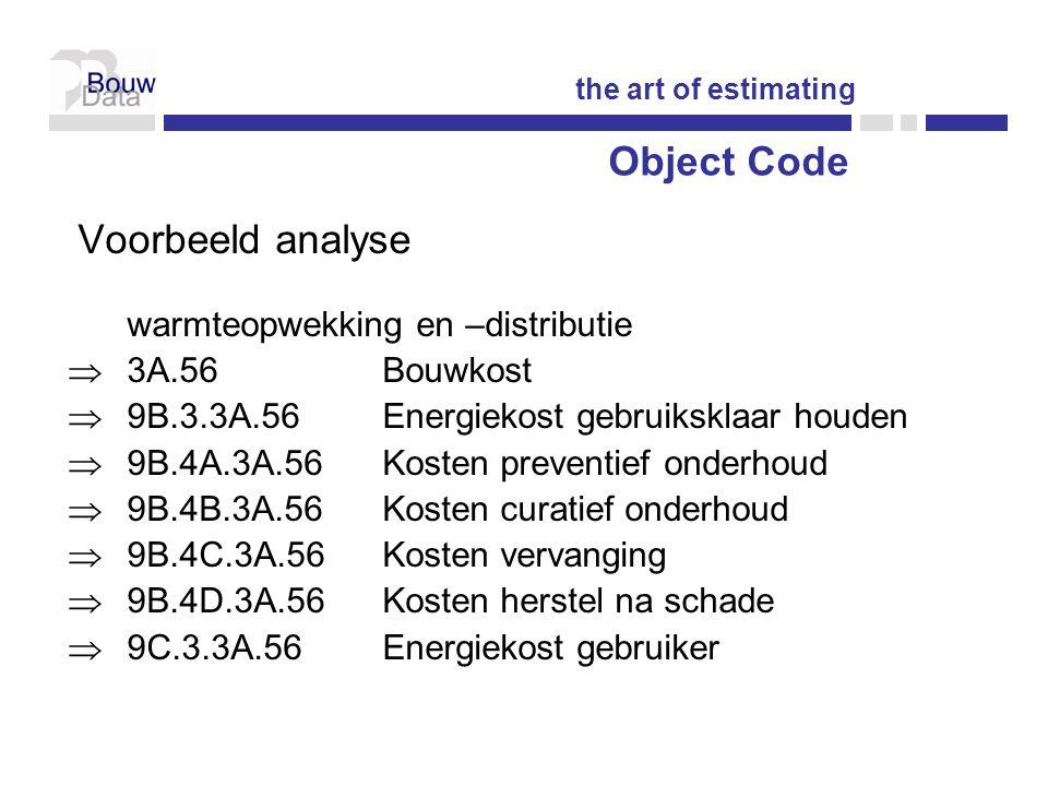 Voorbeeld analyse warmteopwekking en –distributie  3A.56Bouwkost  9B.3.3A.56Energiekost gebruiksklaar houden  9B.4A.3A.56 Kosten preventief onderhoud  9B.4B.3A.56Kosten curatief onderhoud  9B.4C.3A.56Kosten vervanging  9B.4D.3A.56Kosten herstel na schade  9C.3.3A.56Energiekost gebruiker the art of estimating Object Code
