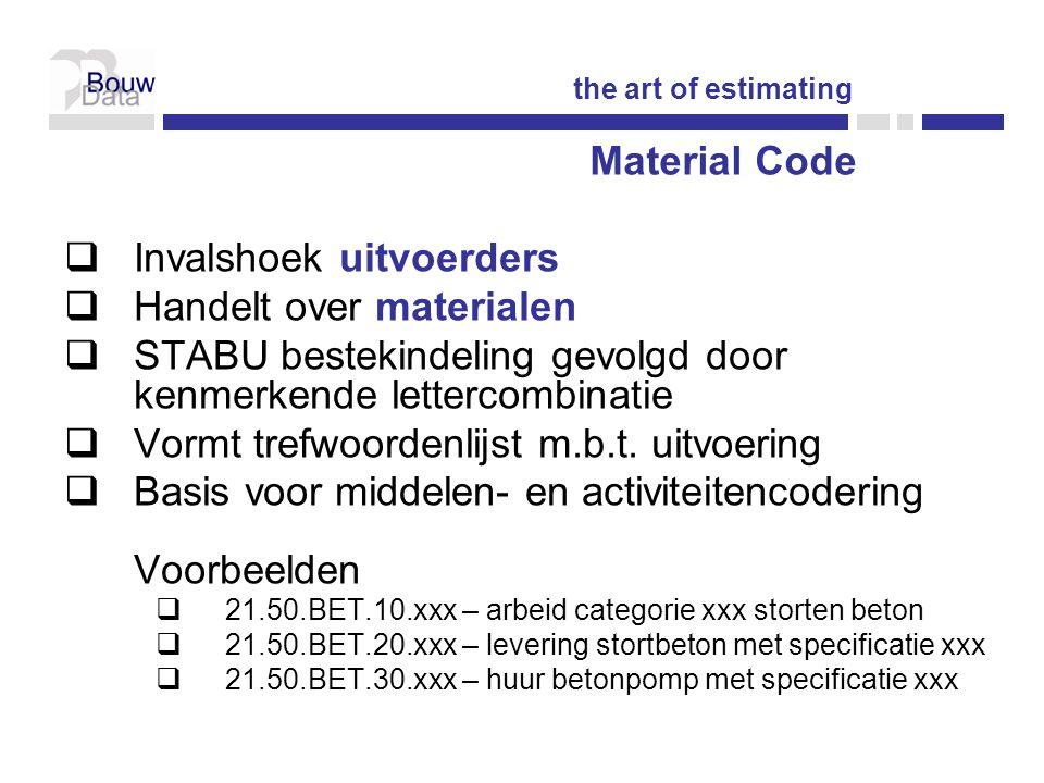  Invalshoek uitvoerders  Handelt over materialen  STABU bestekindeling gevolgd door kenmerkende lettercombinatie  Vormt trefwoordenlijst m.b.t.