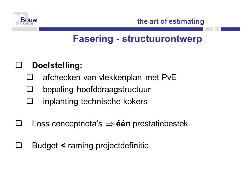  Doelstelling:  afchecken van vlekkenplan met PvE  bepaling hoofddraagstructuur  inplanting technische kokers  Loss conceptnota's  één prestatiebestek  Budget < raming projectdefinitie the art of estimating Fasering - structuurontwerp