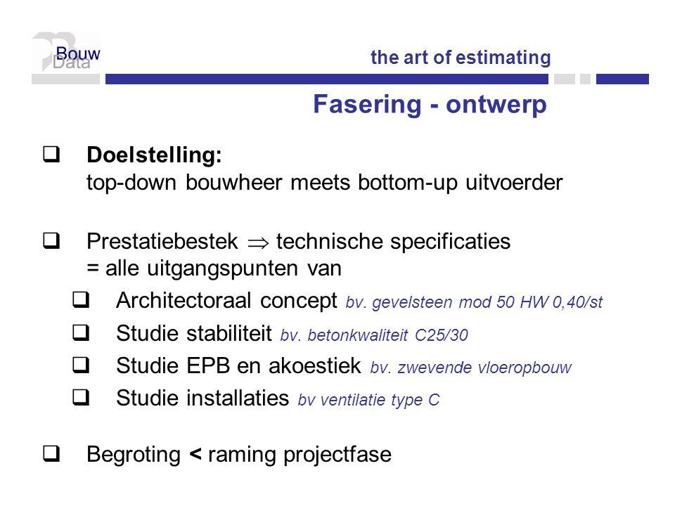  Doelstelling: top-down bouwheer meets bottom-up uitvoerder  Prestatiebestek  technische specificaties = alle uitgangspunten van  Architectoraal concept bv.