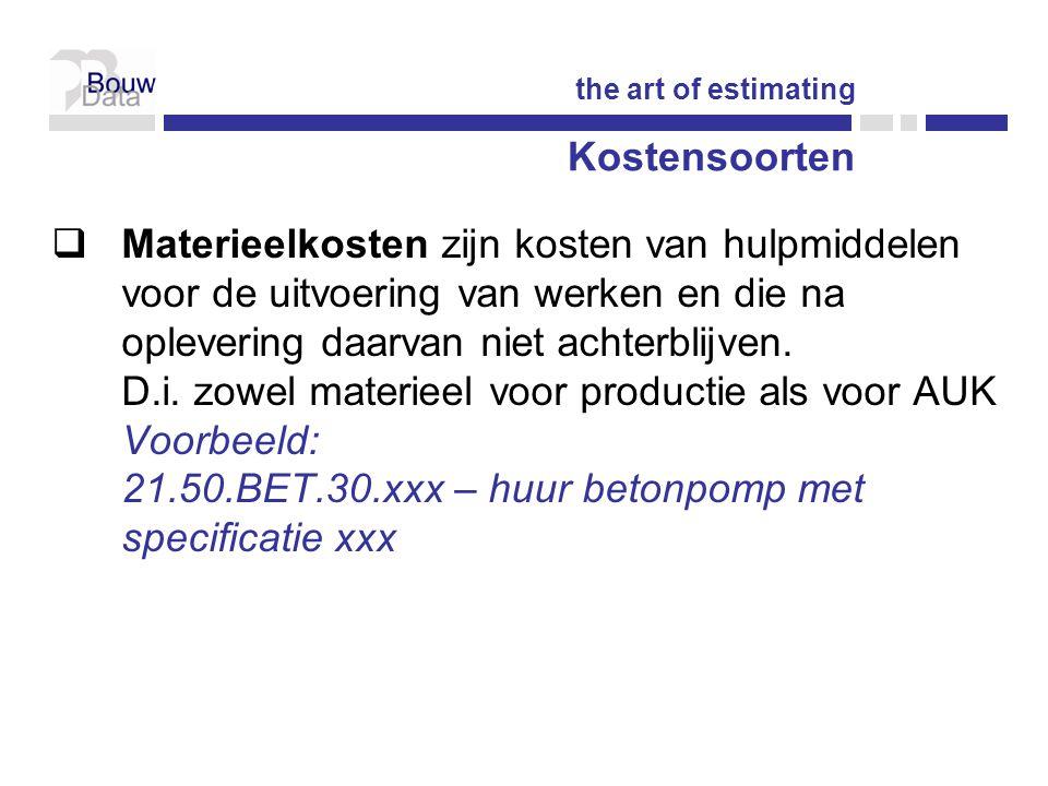 Kostensoorten  Materieelkosten zijn kosten van hulpmiddelen voor de uitvoering van werken en die na oplevering daarvan niet achterblijven.