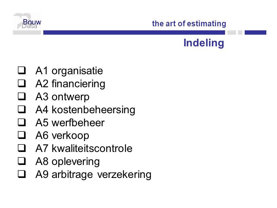 Indeling  A1 organisatie  A2 financiering  A3 ontwerp  A4 kostenbeheersing  A5 werfbeheer  A6 verkoop  A7 kwaliteitscontrole  A8 oplevering  A9 arbitrage verzekering the art of estimating