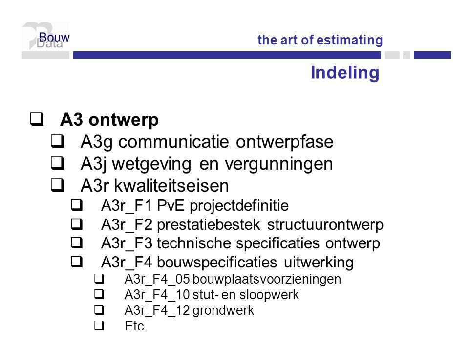 Indeling  A3 ontwerp  A3g communicatie ontwerpfase  A3j wetgeving en vergunningen  A3r kwaliteitseisen  A3r_F1 PvE projectdefinitie  A3r_F2 prestatiebestek structuurontwerp  A3r_F3 technische specificaties ontwerp  A3r_F4 bouwspecificaties uitwerking  A3r_F4_05 bouwplaatsvoorzieningen  A3r_F4_10 stut- en sloopwerk  A3r_F4_12 grondwerk  Etc.