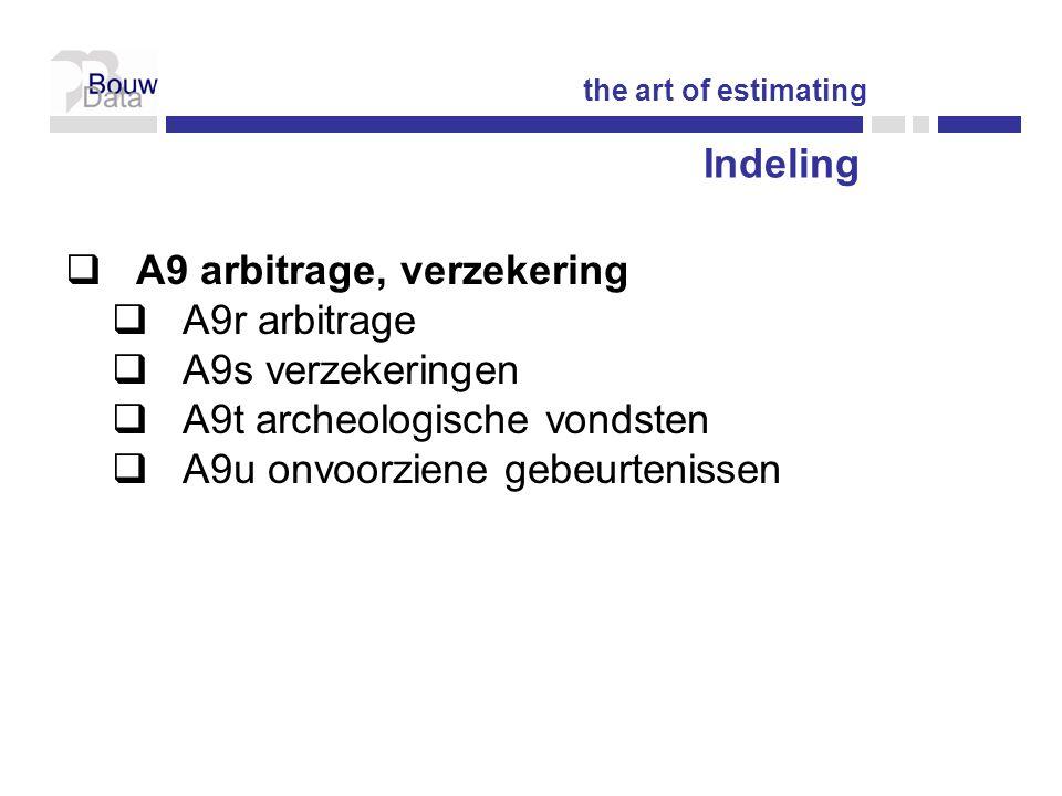 Indeling  A9 arbitrage, verzekering  A9r arbitrage  A9s verzekeringen  A9t archeologische vondsten  A9u onvoorziene gebeurtenissen the art of estimating