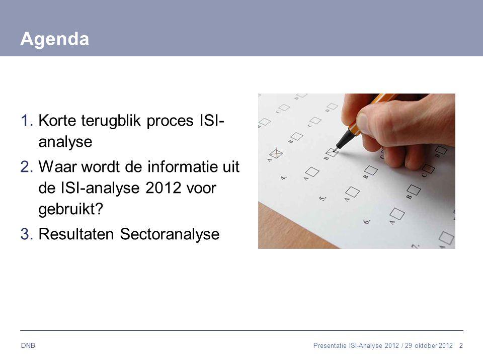 2 DNB Presentatie ISI-Analyse 2012 / 29 oktober 2012 Agenda 1.Korte terugblik proces ISI- analyse 2.Waar wordt de informatie uit de ISI-analyse 2012 v