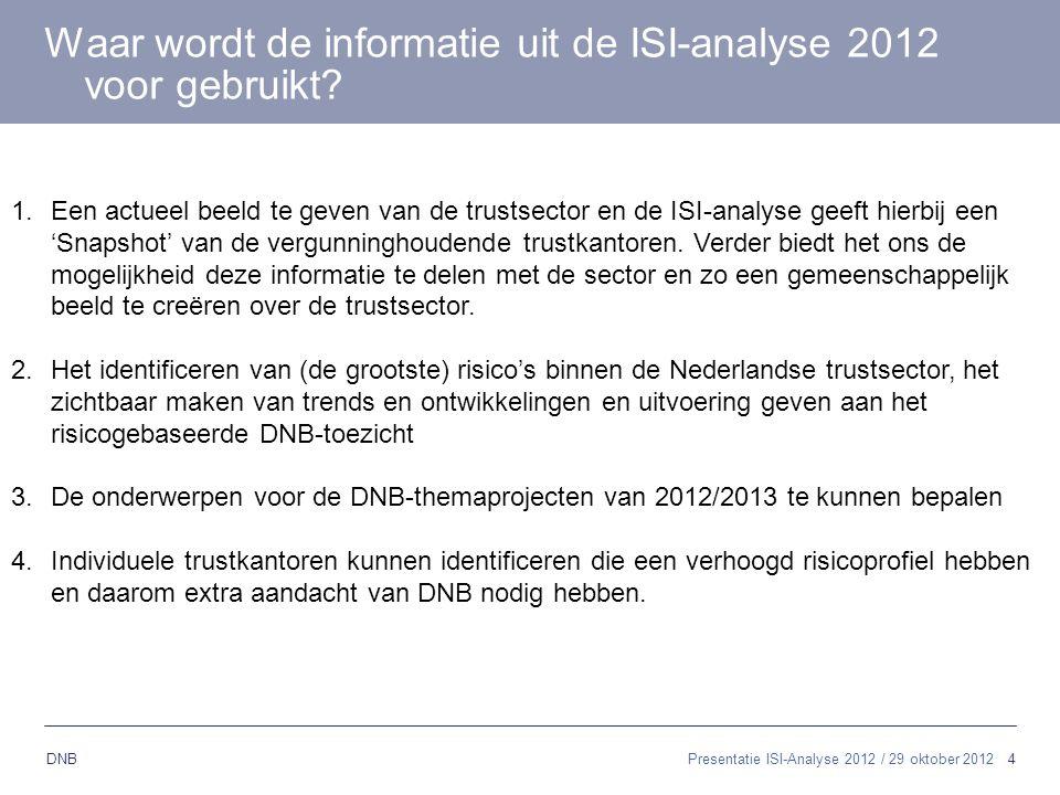 4 DNB Presentatie ISI-Analyse 2012 / 29 oktober 2012 Waar wordt de informatie uit de ISI-analyse 2012 voor gebruikt? 1.Een actueel beeld te geven van