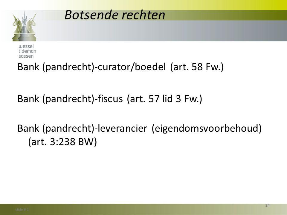 Botsende rechten Bank (pandrecht)-curator/boedel (art. 58 Fw.) Bank (pandrecht)-fiscus (art. 57 lid 3 Fw.) Bank (pandrecht)-leverancier (eigendomsvoor