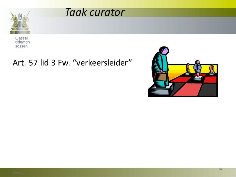 """Taak curator Art. 57 lid 3 Fw. """"verkeersleider"""" 34"""